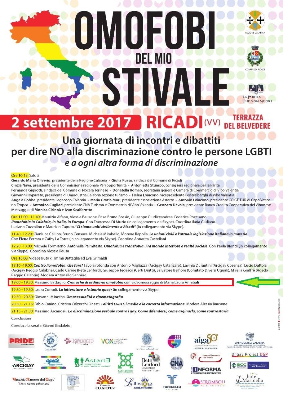 Omofobi del mio stivale –Ricadi (VV) 2 settembre 2017